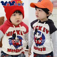 2013 autumn children's clothing mouse print faux two piece baby male child sweatshirt child outerwear 5241