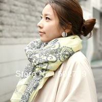2013 new Voile Printed Paisley shawl long blue and white tide Korean  winter scarves Ms.