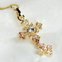 Vintage royal diamond cross necklace female short design accessories jewelry f5404