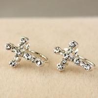 Cross stud earring no pierced earrings fashion accessories e4302
