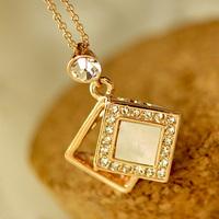 Diamond shell stereo box necklace female short design chain accessories jewelry d5109