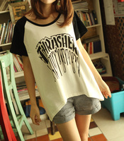 20 - 2612 100% o-neck cotton plus size loose short-sleeve T-shirt gothic letter female raglan sleeve t-shirt
