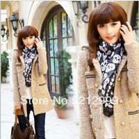 Женская одежда из шерсти 2012 woolen outerwear female plus size slim woolen medium-long trophonema wool coat female