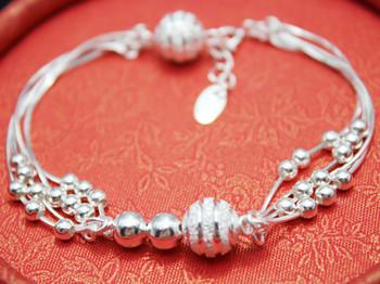 999 fine silver bracelet s999 pure silver scrub glossy transfer bead grape bunch bracelet Women