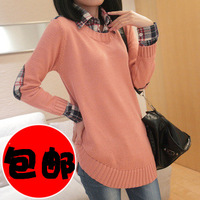 2013 spring sweater outerwear women's faux two piece set medium-long plus size loose basic sweater