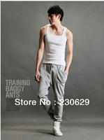 Мужские штаны 2013 Men Solid Color Loose Linen Men Casual Pants Thin Section ST4-3922