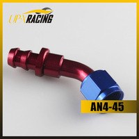 AN4 45 degree PUSH ON LOCK SOCKETLESS HOSE END aluminum FITTING ADAPTER