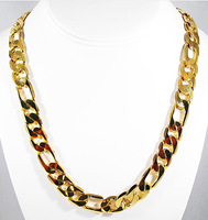 Free Shipping Women's 24k Gold Plated Necklace Link  Chains Charming Party Jewelry Top Quality