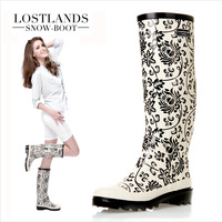 Free shipping!Lostlands high quality Eco-friendly rubber women's rainboots tall boots rain shoes blue and white porcelain mosaic