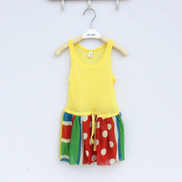 free shipping baby girls sleeveless yellow dresses size 5 7 9 11 13 15
