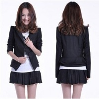 Free Shipping2013 fashoin Women Suit Blazer Foldable Sleeves Coat One Button black suit coat
