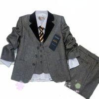 2013 new fashion grey 3pcs suit set kids blazer boys with balck collar free shipping