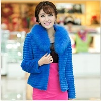 2013 Women's Natural Stripe Rabbit Fur Jacket with Fox Fur Collar Female Slim Short Outerwear VK1053