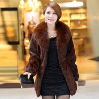 2013 Women's Genuine Rabbit Fur Coat with Fox Fur Collar Female Winter Warm Outerwear VK1030