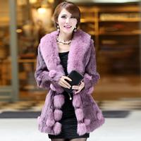 2014 Lady Genuine Rabbit Fur Coat Jacket with Fox Fur Collar Winter Women Fur Outerwear Coats Plus Size VK1025
