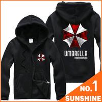 Free Shipping Cheapest Men Hoodies Resident Evil Biohazard Umbrella Long Sleeve Cosplay Costume Coat Jacket  S01