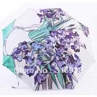 2013 New Oil  painting flower-de-luce paint by van gogh3 folding elargol sun protection automatic umbrella umbrella