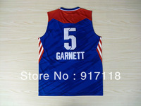 Free Shipping,Basketball jersey,#5 Kevin Garnett 2013 All Star Jersey,Embroidery and Sewing Logos,Size S--3XL