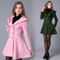 Free Shipping Pink Doll Style Lapel Collar Double-breasted Slim Fit Big Hem Trench Woolen Coat