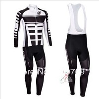 2013 assos Team Black&White Winter Thermal Fleece Long Sleeved Cycling Jersey /Cycling wear + Bib pants .847