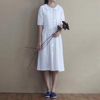 Fluid print linen half sleeve peter pan collar half sleeve clothes small fresh princess dress