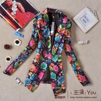 2013 spring national trend vintage print slim medium-long blazer suit female outerwear