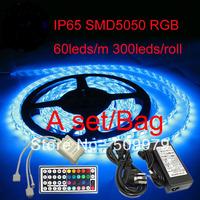 DHL Free Ship Led Strip Dimmer 5050 5m RGB Waterproof 5meter/bag 5050 300leds 44keys Controller 12V 5A power 14.4W/M 12V DC IP65