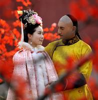 Costume winter cloak pink female cloak winter wool cloak cotton-padded