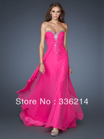 A-line Sweetheart Chiffon Ankle-length Fuchsia Rhinestone Prom Dress 2013 New Fashion Free Shipping Evening Dress