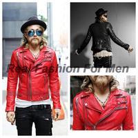 Men's Zipper Around Deco Design Fashion Slim Fit Faux Pu Leather Jacket Casual Blazer Coat Free Shipping