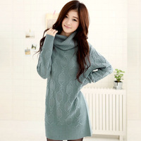 Loose sweater female 2012 autumn and winter new arrival straight design turtleneck long sweater thick