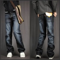 3 2013 summer male all-match loose straight jeans black and gray male plus size