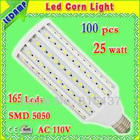 ac 110v led bulb e27 25w smd5050 165 leds_corn led light warm / white light 360 degree