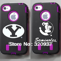 Type 2 Colleges Customized Design Covers Boise State badge Cases Rugged protective w/built in screen for iPhone 4/4s