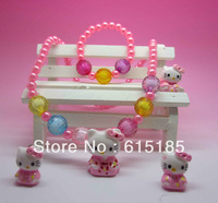 Min.order is $15 (mixed order)Crystal Hello Kitty Children Jewelry Set, Free Shipping Silver Cat&Hello Kitty Crystal Necklace