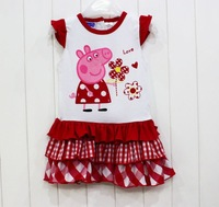 Free Shipping 2013 New Summer Girls Peppa Pig Cap Sleeve Dresses Baby Girls Peppa Pig Carton Dresses Children's Fashion wear
