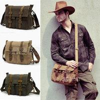P117 Europe Style Vintage Mens Canvas Messenger Shoulder Bag School Military Casual Travel Zipper Buckle Multi Pocket For Laptop