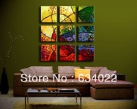 9 piece canvas art  Hand Drawn Modern Abstract Large Oil Painting Seabed On Canvas Decorative Art Prints For Wall Decor Picture