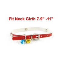 One Pin Buckle Bone Design Belt Jingle Bell Cat Dog Pets Neck Collar Red