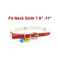 One Pin Buckle Bone Design Belt Jingle Bell Cat Dog Pets Neck Collar Red