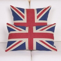 One Piece Throw Pillow Cover And One Piece Lumbar Pillow Cover Quality Linen/cotton Pillowcases Vintage Style British Flag