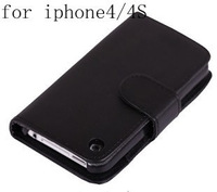5pcs/lot For iPhone 4G/4S case, With Credit Card Holder Wallet Leather Case For iPhone 4 4G,High Quality Free Shipping