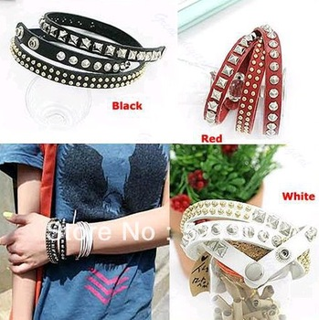 Free Shipping 3pcs/lot New Fashion Unisex Multi-layer Artificial Leather Rivet Bracelet Wristband
