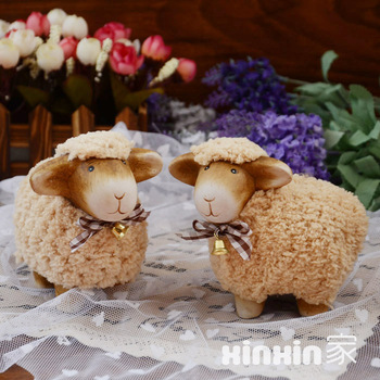 Small plush sheep piggy bank resin craft decoration lovers birthday gift bookshelf accessories