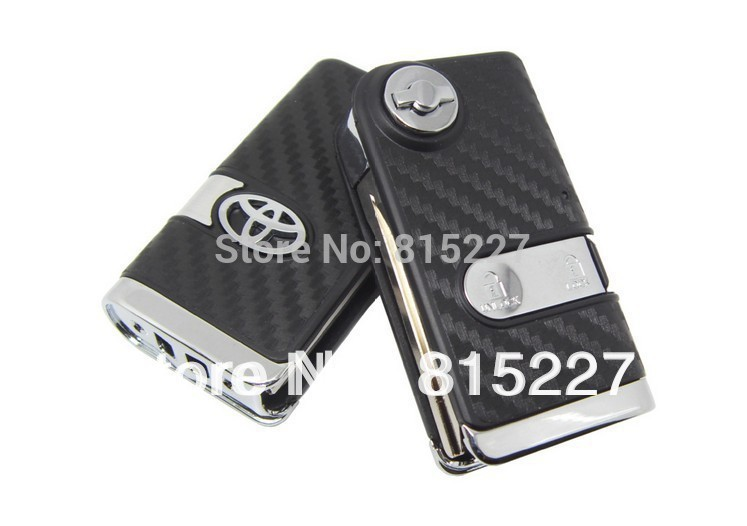 2014 Hot 2 Buttons Modified Flip Remote Key Shell Case Cover for Toyota Corolla,Vios,RAV4 3D Carbon Fiber Sticker Free Shipping(China (Mainland))