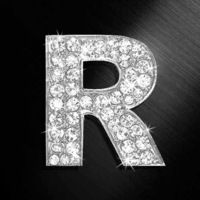 R letter stickers diamond crystal letter stickers reflective car stickers door number plate hangback