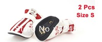 Dog Chihuaha Nonslip Rubber Sole Hook Loop Fastener Shoes Pair White Red Size 3