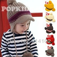 baby boy hat Ear double ball, gib with knitted hat, children hat (5 colors)