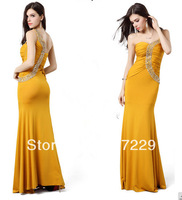 New Fashion Woman Yellow One Shoulder Long Prom Formal Gowns Sexy Slim Evening Party Dress LF020