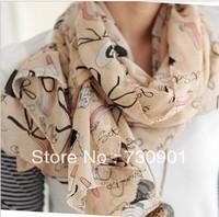 FREE SHIPPING Spring and autumn high-heeled long design women's silk scarf velvet chiffon sun-shading cape mufflerS-78